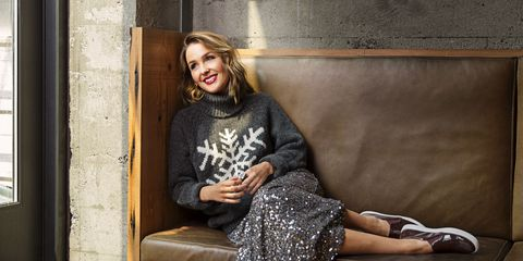 "<p>One wintry sweater + one ankle-skimming sequined skirt + shiny slip-on sneakers = a cozy look that's infinitely simpler than Common Core math.</p><p><em><strong>Sweater</strong>, $70, <a href=""http://gap.com"" target=""_blank"">gap.com</a>; <strong>Skirt</strong>, $30, <a href=""http://target.com"" target=""_blank"">target.com</a>; <strong>Ring</strong>, $50, <a href=""http://sorrelli.com"" target=""_blank"">sorrelli.com</a>; <strong>Sneakers</strong>, $50, <a href=""http://gap.com"" target=""_blank"">gap.com</a>.</em></p><p><em><strong>On location:</strong> </em><a href=""http://www.laspiga.com/"" target=""_blank""><em>Osteria La Spiga</em></a></p>"