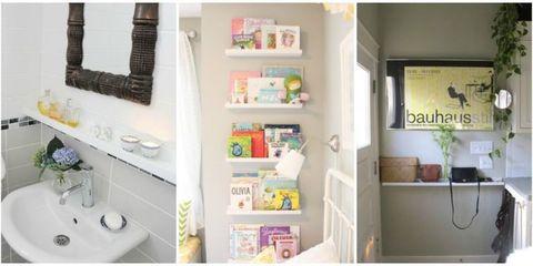 Room, Interior design, Shelving, Wall, Bathroom sink, Plumbing fixture, Shelf, Home, Interior design, Sink,