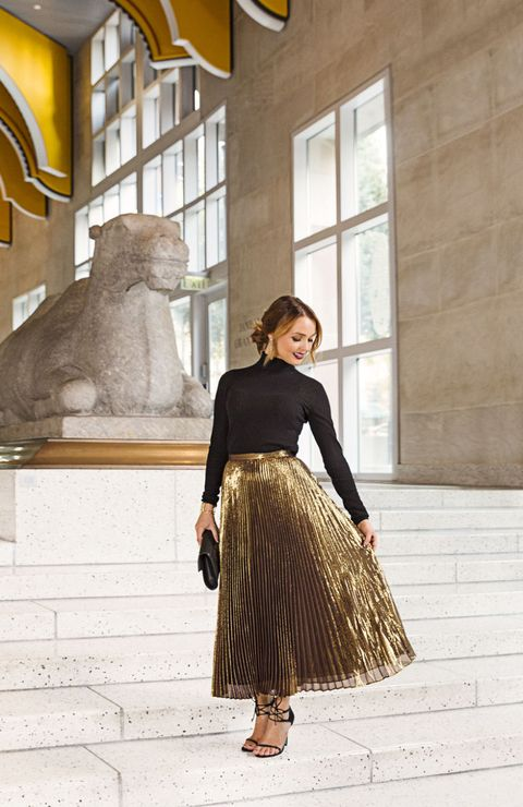 "<p>Forget the LBD: This season is all about the day-to-night LBT. Wear it with a metallic accordion-pleated skirt — all the rage right now.</p><p><em><strong>Sweater</strong>, $95, <a href=""http://aritzia.com"" target=""_blank"">aritzia.com</a>; <strong>Skirt</strong>, Lauren Ralph Lauren, $298, <a href=""http://bloomingdales.com"" target=""_blank"">bloomingdales.com</a>; <strong>Earrings</strong>, $140, <a href=""http://deepagurnani.com"" target=""_blank"">deepagurnani.com</a>; <strong>Clutch</strong>, Danielle Nicole, $58, <a href=""http://amazon.com"" target=""_blank"">amazon.com</a>; <strong>Cuff</strong>, $118, <a href=""http://houseofharlow1960.com"" target=""_blank"">houseofharlow1960.com</a>; <strong>Shoes</strong>, Blue by Betsey Johnson, $129, <a href=""http://lulus.com"" target=""_blank"">lulus.com</a>.</em></p><p><em><strong>On location:</strong> <a href=""http://www.seattleartmuseum.org/"" target=""_blank"">Seattle Art Museum</a><br></em><em>You'll find European and American (including local) artwork, as well as an impressive visiting Impressionist exhibit with paintings by Renoir and Degas.</em></p>"
