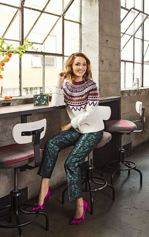 "<p>Dress up the quintessential winter pattern by pairing it with unexpected textures and colors, like these metallic brocade pants and hot pink pumps. </p><p><em><strong>Sweater</strong>, 424Fifth, $149, <a href=""http://lordandtaylor.com"" target=""_blank"">lordandtaylor.com</a>; <strong>Pants</strong>, $138, <a href=""http://jcrew.com"" target=""_blank"">jcrew.com</a>; <strong>Bracelet</strong>, $58, <a href=""http://chloeandisabel.com"" target=""_blank"">chloeandisabel.com</a>; <strong>Shoes</strong>, $79, <a href=""http://ninashoes.com"" target=""_blank"">ninashoes.com</a>; <strong>Clutch</strong>, Kate Landry, $95, <a href=""http://dillards.com"" target=""_blank"">dillards.com</a>.<br> </em></p><p><em><strong>On location:</strong> <a href=""http://www.sitkaandspruce.com/"" target=""_blank"">Sitka & Spruce</a><br></em><em>A modern, rustic space, a top chef's eclectic menu and a stellar wine list, all nestled in the bustling Melrose Market — foodie heaven.</em></p>"