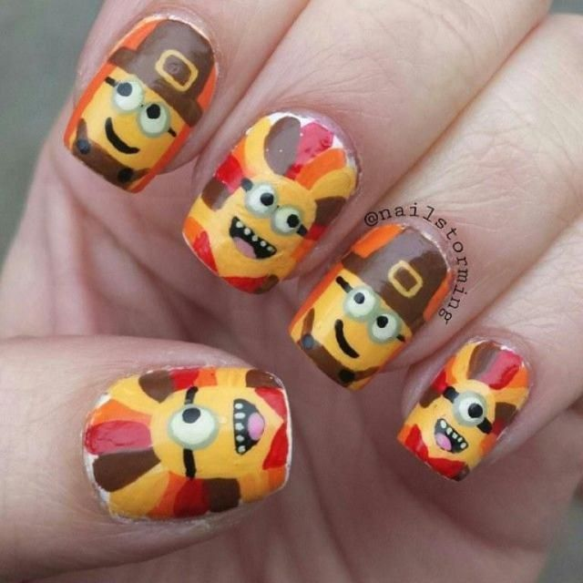 26 Thanksgiving Nail Art Designs Ideas For November Nails