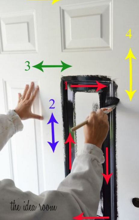 "<p>Betcha didn't know there was a wrong way to paint a door. Well worry not: This numbered guide could not be any easier to follow and will ensure your paint job comes out smooth and even.</p><p><a href=""http://www.theidearoom.net/2012/06/how-to-paint-a-door.html"" target=""_blank""><em>Get the tutorial at The Idea Room »</em></a></p>"