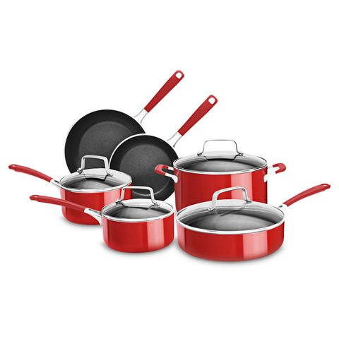"<p>The red nonstick coating on these aluminum gems will brighten the kitchen, but it'll also make you smile when it comes to cooking and cleanup. Pancakes slide right out; marinara simmers steadily even if you forget to stir. Whether you opt for machine- or hand-washing, these clean up beautifully due to coating inside and out. They also come in black. </p><p><em><strong>From $20 for 8"" skillet to $200 for 10-piece set at <a href=""http://www.kitchenaid.com/shop/-[KC2AS10ER]-5603602/KC2AS10ER/"" target=""_blank"">KitchenAid.com</a></strong></em></p>"