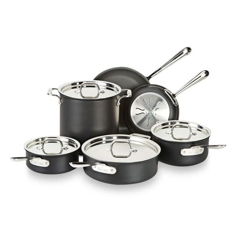 "<p>Our top scorers are anodized aluminum (treated to make it sturdier) with induction-safe stainless bases and a nonstick finish. They cook up crepes that are easy to flip, and they're a breeze to clean. To crisp a casserole, pop it in the oven, up to 500°F (indirect heat is safe for the coating). </p><p><em><strong>From $50 for 2-qt. saucepan to $600 for 13-piece set at <a href=""http://www.williams-sonoma.com/products/all-clad-ns1-nonstick-induction-13-piece-cookware-set/"" target=""_blank"">Williams-Sonoma.com</a></strong></em></p>"