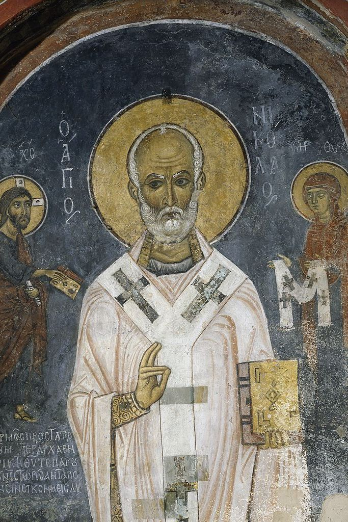 St Nicholas of Myra, fresco (12th century), Church of Ayios Nikolaos tis Steyis (Saint Nicholas of the Roof) (11th century) (Unesco World Heritage List, 2001), Troodos mountains, Cyprus.