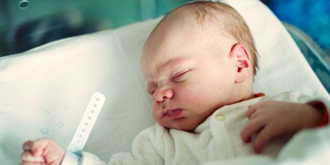 newborn baby boy in hospital