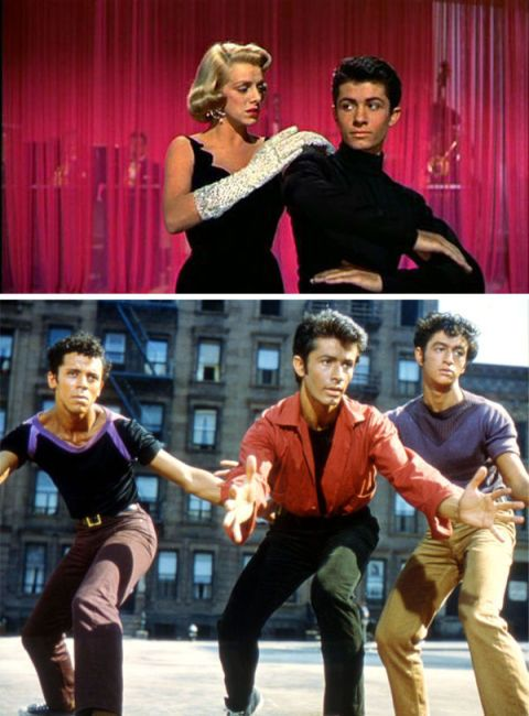 George Chakiris (centre), US actor, in a publicity image issued for the film adaptation of 'West Side Story', USA, 1961. The musical, directed by Jerome Robbins (1918-1998) and Robert Wise (1914-2005), starred, Chakiris as 'Bernardo Nunez'.