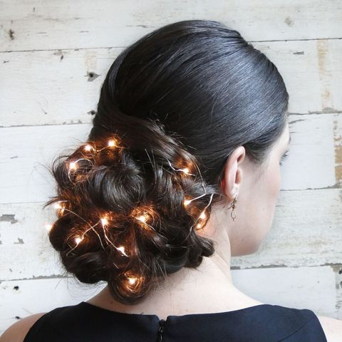 Holiday Updo With Christmas Lights Unique Holiday Hairstyle