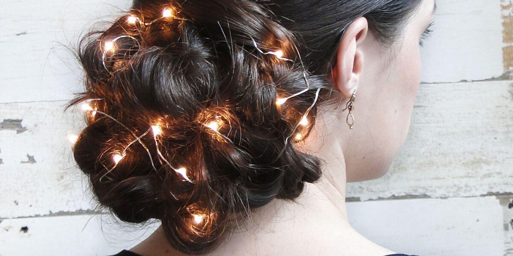Holiday Updo With Christmas Lights Unique Hairstyle
