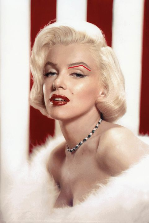 """<p>Bombshell Marilyn Monroe is known for her voluptuous physique. What may be less obvious is that her soft curves extend to her face. """"She doesn't naturally have a very pronounced jawline or cheekbones,"""" says New York City-based makeup artist and brow pro William Scott. That's where her hyper-defined brows come into play: <strong>Strong arches compensate for less-than-chiseled cheekbones.</strong> They add structure to her face, Scott says, and broadcast that this is one bombshell who calls the shots.</p><p><img src=""""https://secure.insightexpressai.com/adServer/adServerESI.aspx?bannerID=556073&script=false&rnd=[%%CACHEBUSTER%%]&tag=img"""" style=""""visibility: hidden&#x3B; height: 1px&#x3B; width: 1px&#x3B;""""></p>"""