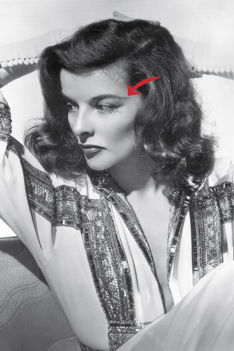 """<p>Katharine Hepburn is using a tried-and-true makeup trick here. """"<strong>Lengthening the tail end of your brows lifts the eyes and adds drama to the face</strong>,"""" Scott says. Since Hepburn's a star on screen <em>and</em> stage, she goes for a theatrical length and height, aiming her brow at her temple. For an everyday eyelift, aim the tail at the upper ear, Scott suggests. Use a pencil like <a href=""""http://www.amazon.com/Maybelline-New-York-Eyestudio-Precise/dp/B00PFCSBXG/ref=sr_1_1?ie=UTF8&qid=1448410184&sr=8-1&keywords=maybelline+brow+precise"""" target=""""_blank"""">Maybelline New York Brow Precise</a>, and don't go quite so far unless you're in fact a drama queen, too.</p>"""