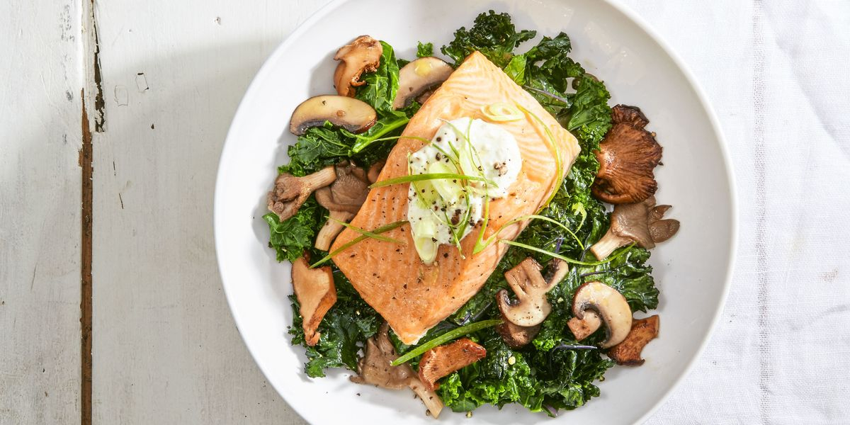 Salmon with Skyr and Sauteed Kale