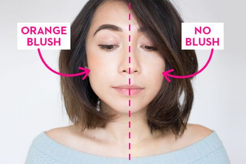 """As you can see, the orange blush made my complexion more warm and flattering, while the placement has applied a more """"V"""" shape to my face."""