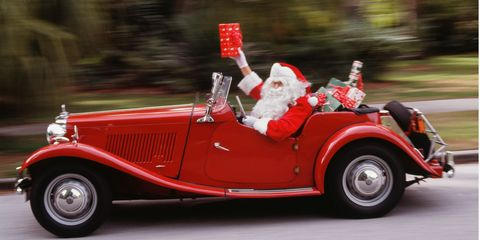 Santa driving a car