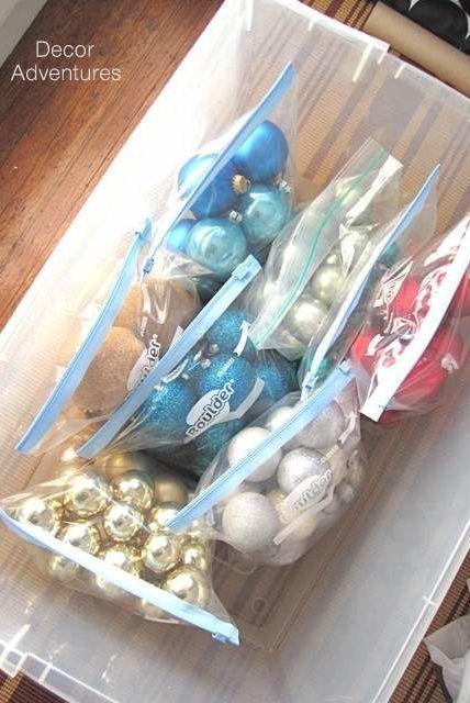 plastic bag christmas tree ornament storage