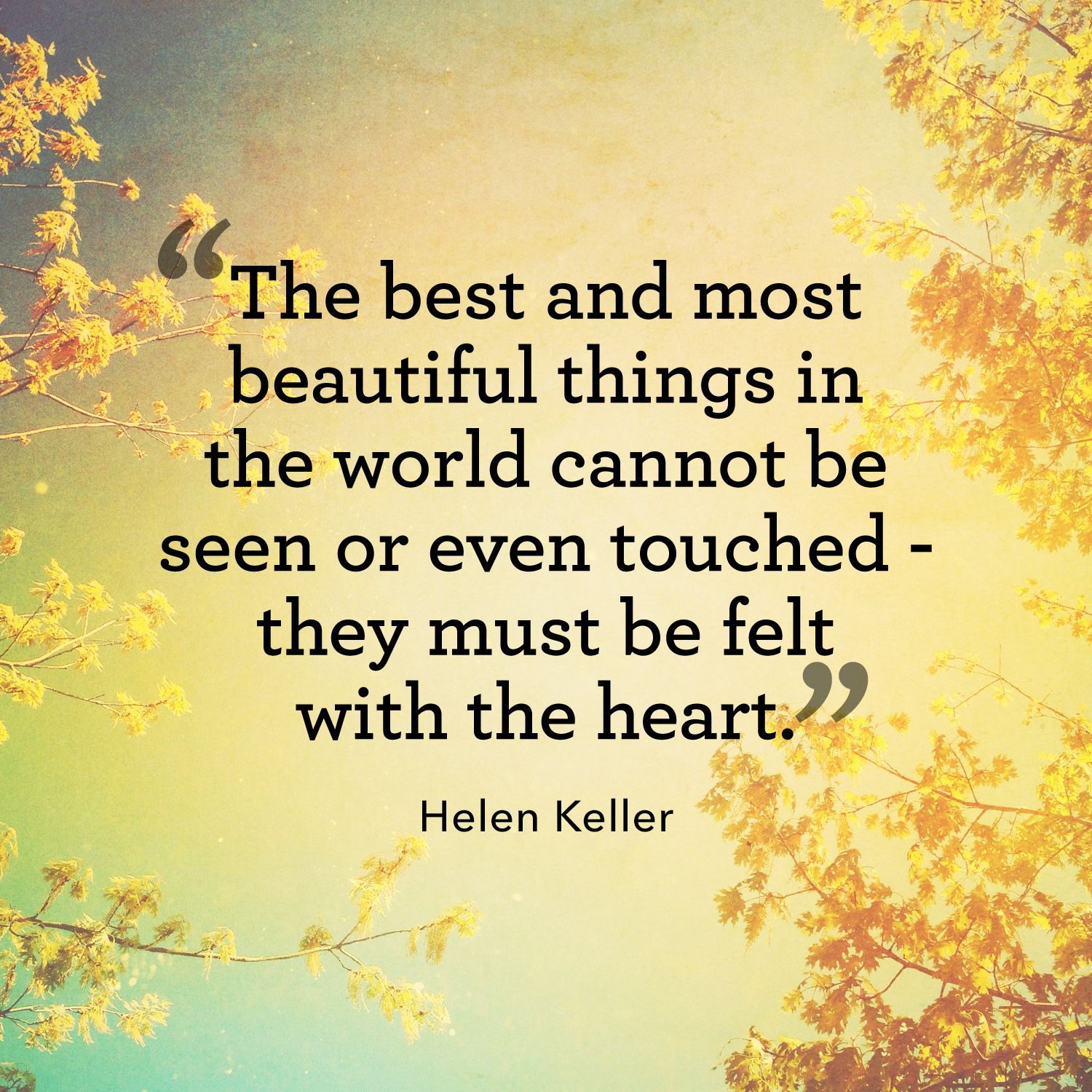 "<p>""The best and most beautiful things in the world cannot be seen or even touched—they must be felt with the heart.""</p>"