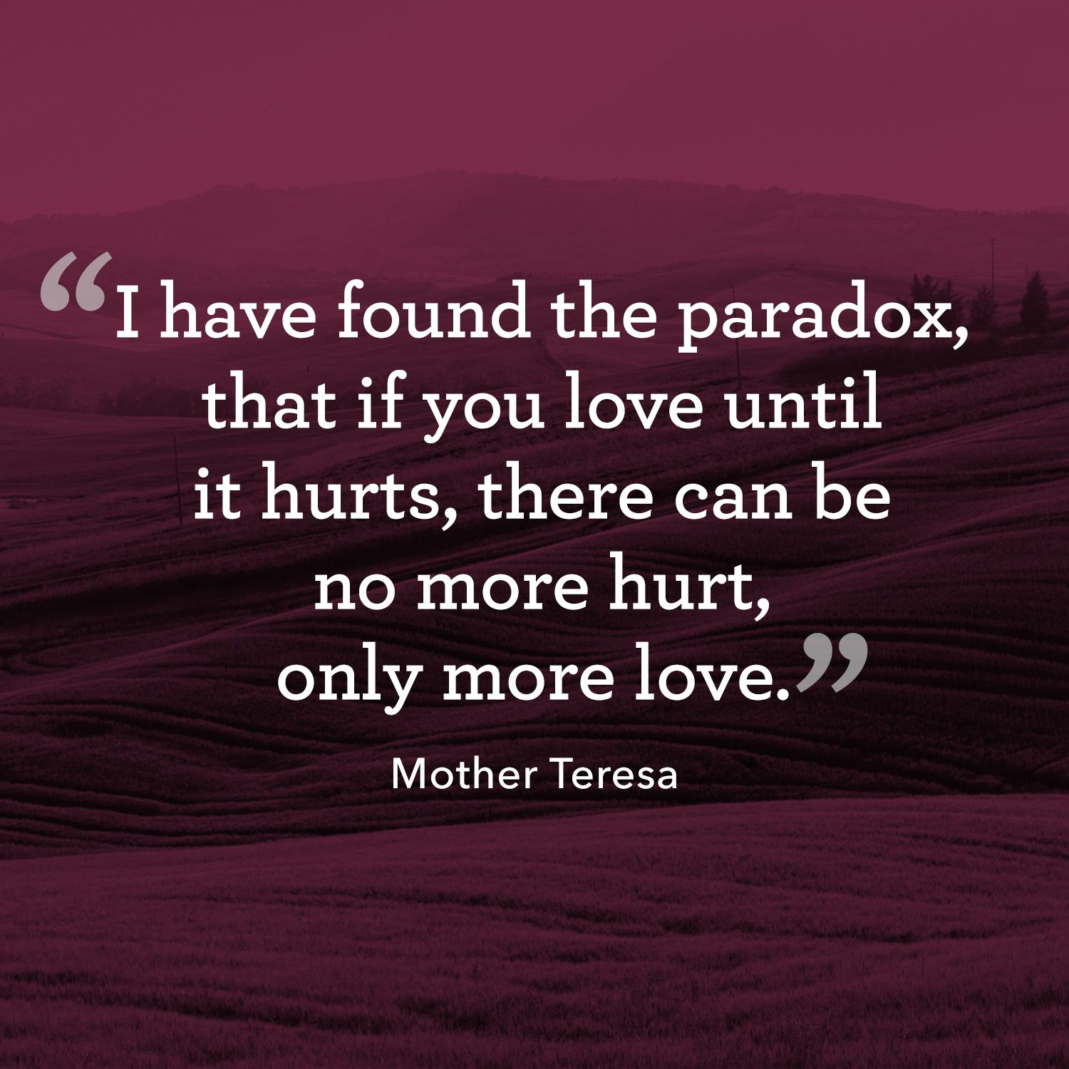 "<p>""I have found the paradox that if you love until it hurts, there can be no more hurt, only more love.""</p>"