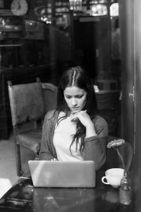 Photograph, Serveware, Table, Sitting, Monochrome, Beauty, Monochrome photography, Black-and-white, Snapshot, Long hair,
