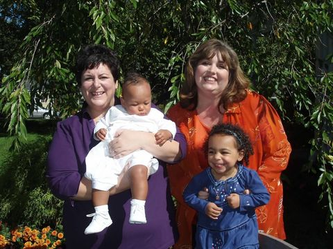 Jodi, Kimberly and Grace at son Jack's baptism
