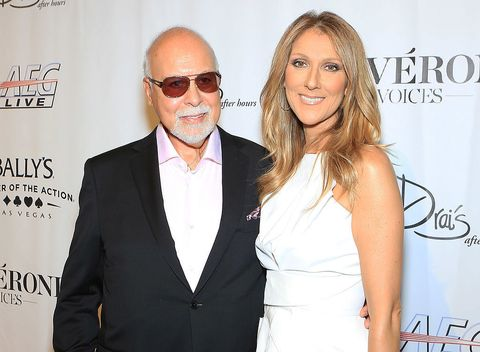 Rene Angelil (L) and singer Celine Dion arrive at the premiere of the show 'Veronic Voices' at Bally's Las Vegas on June 28, 2013 in Las Vegas, Nevada.