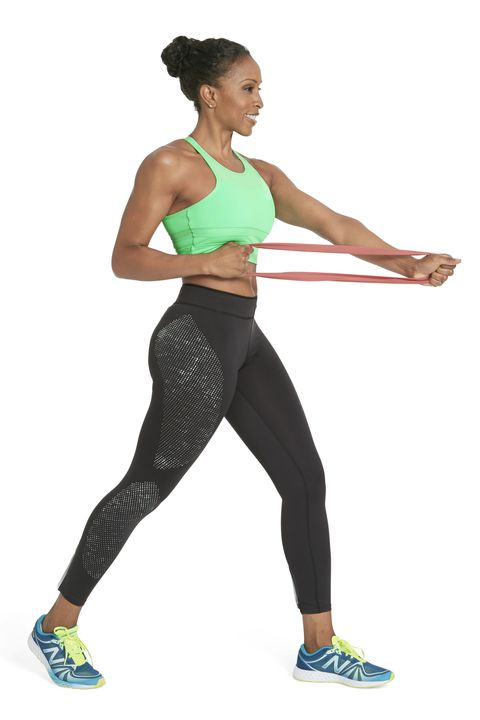 <p><strong><em>Works back, shoulders, and arms</em></strong></p><p>Stand with feet staggered, left foot ahead of right, holding band with both hands extended just below chest level. Keeping left arm straight, pull right fist to rib cage (as shown). Straighten right arm to match left for one rep; do 12 reps. Switch sides and repeat. Engage your abs to ward off wobbling.</p>