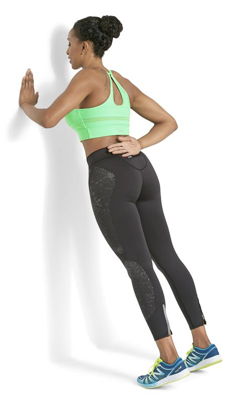 <p><strong><em>Works chest and arms</em></strong></p><p>Stand arm's length from wall at chest height, left palm flat against wall, right arm behind back. Step both feet back and rise onto toes. Bend left arm (as shown), then extend it to return to start. Repeat 12 times&#x3B; switch sides. To avoid wrist strain, spread hand and keep fingers pointing up, not to the side.</p><p><em>This story originally appeared in the February 2016 issue of Good Housekeeping.</em></p>