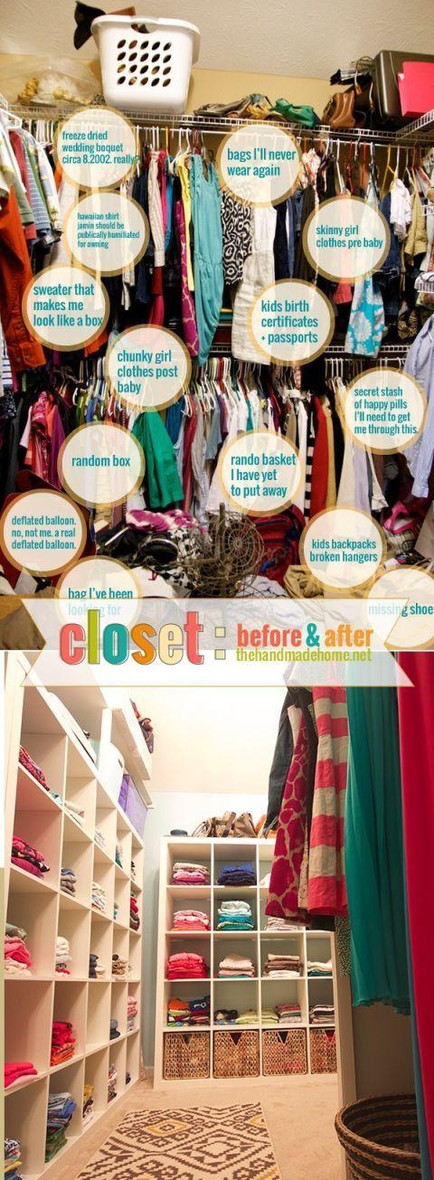 Messy closet vs. organized closet