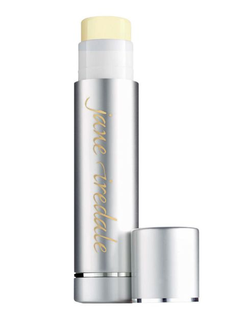 "<p>Thanks to the mineral sunscreen titanium dioxide, this broad-spectrum SPF 15 balm, which adds a subtle sheen, doesn't have the icky taste chemical-SPF products can. Plus, it's laced with antioxidants (vitamins C and E as well as green tea).</p><p><em>$15, <a href=""https://janeiredale.com/"" target=""_blank"">JaneIredale.com</a></em></p>"