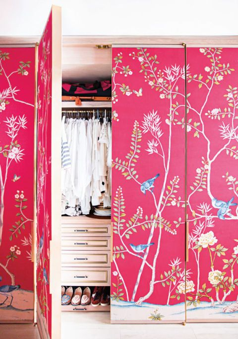 "<p>Use a large-patterned wallpaper, like this chinoiserie-inspired style, as fashion designer <a href=""http://domino.com/austyn-zung-modern-nyc-studio-transformation"" target=""_blank"">Austyn Zung</a> did in her New York City loft. For a major statement, cover the surrounding wall, too. </p><p><strong><em>You'll Need:</em></strong><br><strong>Wallpaper</strong> (Fontainebleau, <a href=""http://Cole-and-Son.com"" target=""_blank"">Cole-and-Son.com</a> or Janta Bazaar in Red, <a href=""http://ThibautDesign.com"" target=""_blank"">ThibautDesign.com</a>)</p>"