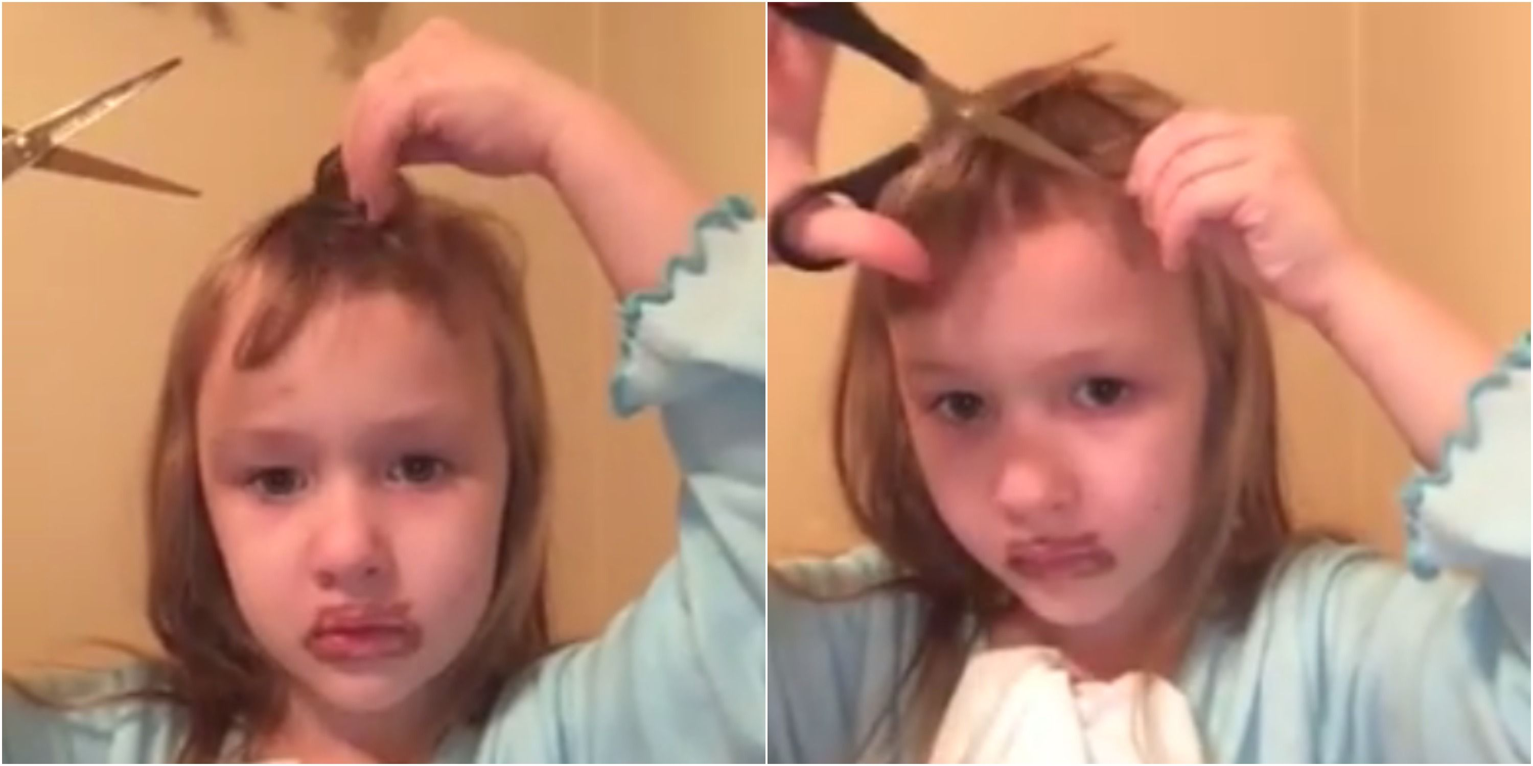 Little Girl Cuts Her Own Hair Viral Video Of Little Girl Cutting Bangs