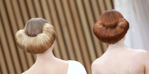Brown, Hairstyle, Shoulder, Style, Back, Hair accessory, Neck, Bridal accessory, Tan, Fawn,