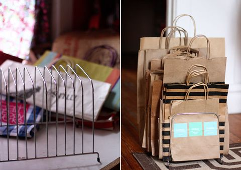 "<p>The key to repurposing these bags is keeping them wrinkle-free — and when they're thrown into a pile in the back of your closet that's not very likely. Use a file organizer to keep them upright instead.<br></p><p><a href=""http://www.auntpeaches.com/2012/10/thrift-store-calling-paper-sorters-gone.html"" target=""_blank""><em>See more at Aunt Peaches »</em></a> </p>"