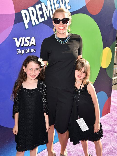 Actress Busy Philipps (C), Birdie Leigh Silverstein and a guest attend the Los Angeles premiere of Disney-Pixar's 'Inside Out' at the El Capitan Theatre on June 8, 2015 in Hollywood, California.