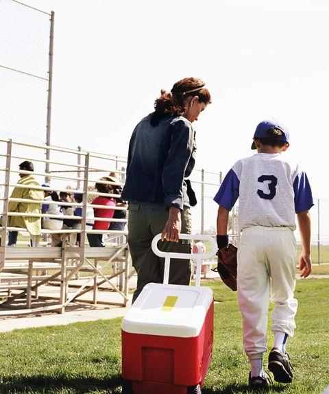 mom son baseball little league
