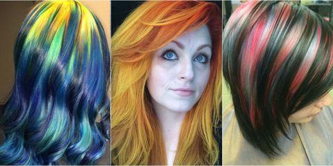 Lip, Hairstyle, Yellow, Eyebrow, Colorfulness, Style, Orange, Purple, Eyelash, Beauty,