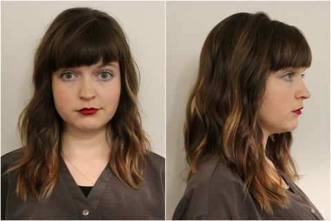 Lip, Brown, Hairstyle, Skin, Chin, Forehead, Eyebrow, Eyelash, Step cutting, Style,