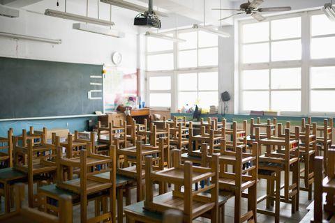 Wood, Room, Furniture, Ceiling, Classroom, Interior design, Education, Fixture, Class, Hardwood,