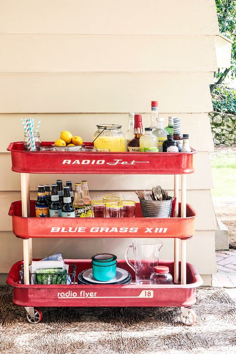 red wagon bar cart