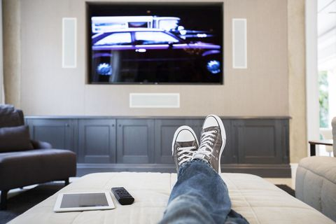 Electronic device, Display device, Room, Interior design, Flat panel display, Television set, Shoe, Jeans, Floor, Denim,
