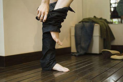Wood, Floor, Flooring, Denim, Wood flooring, Hardwood, Joint, Human leg, Laminate flooring, Waist,