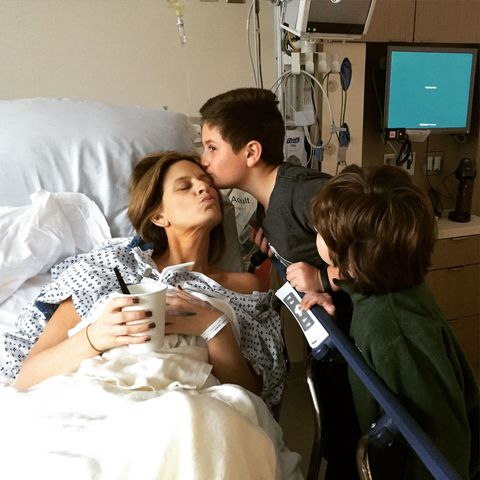 Denise Albert and her sons after surgery breast cancer mom divorce