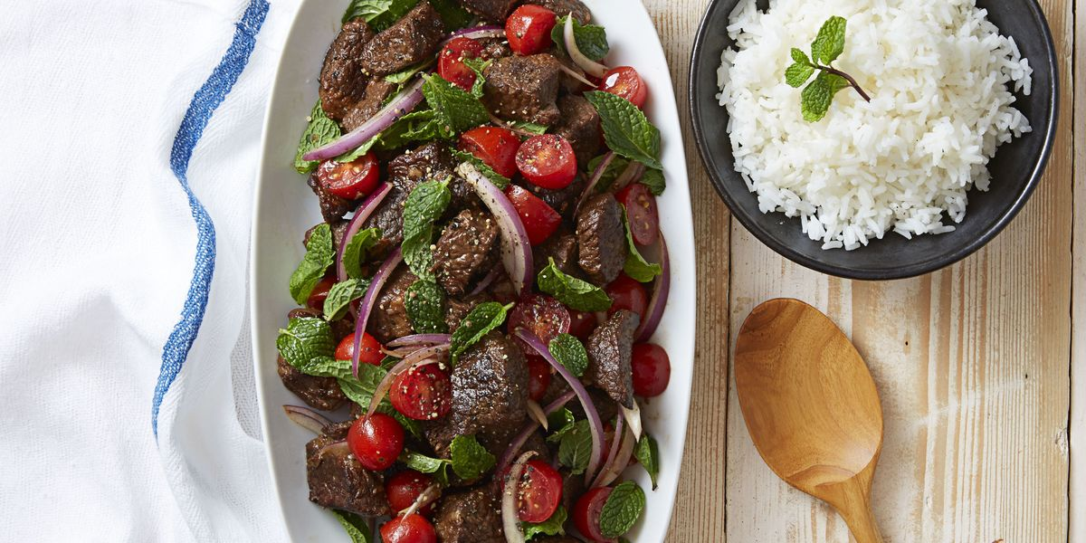 Soy-Braised Beef & Tomato-Mint Salad Recipe - Good Housekeeping Salad Recipes