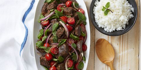 Soy-Braised Beef & Tomato-Mint Salad April 2016