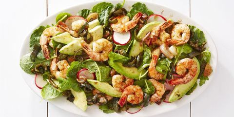 The easiest way to cook shrimp? Roast it! Place them on a baking sheet and pop in the oven for five minutes. Then proceed to add it to your favorite eats, like this fiery avocado salad.   Get the recipe for Roasted Shrimp & Poblano Salad »