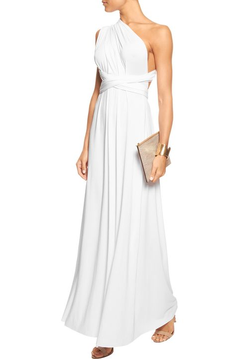 Clothing, Dress, Sleeve, Shoulder, Textile, Standing, Joint, White, Formal wear, Style,