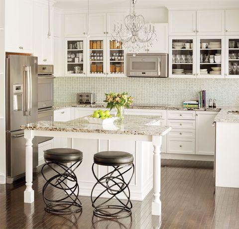 Room, Interior design, Floor, White, Flooring, Interior design, Kitchen, Home, Cabinetry, Major appliance,