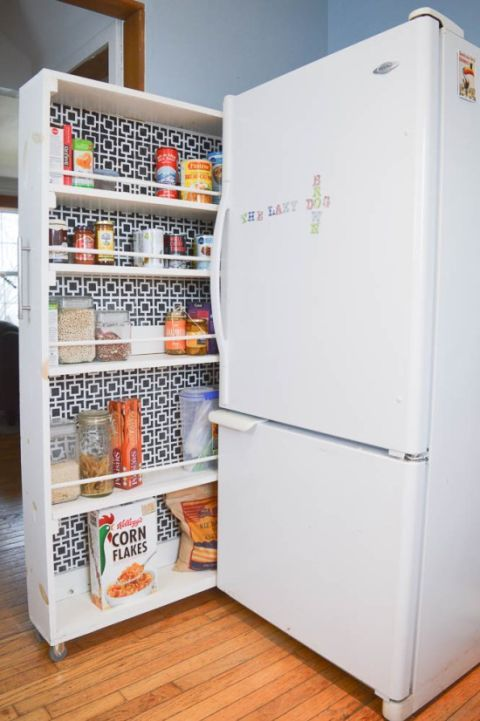 Floor, Flooring, Wood flooring, Major appliance, Freezer, Laminate flooring, Refrigerator, Hardwood, Bottle, Kitchen appliance,