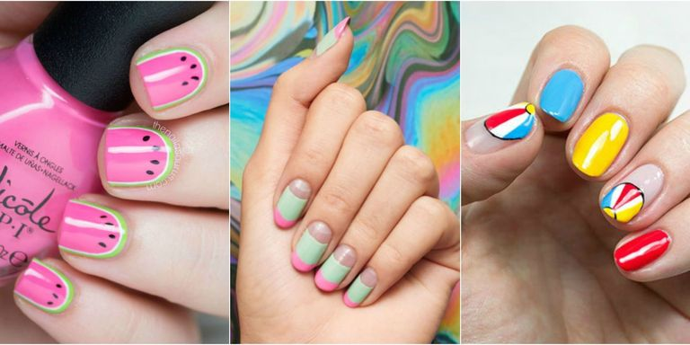 When the weather gets warm, your nail art can get sunnier too. - 30 Summer Nail Designs For 2017 - Best Nail Polish Art Ideas For Summer