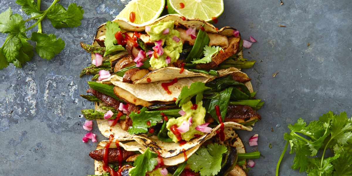 Grilled Asparagus and Shiitake Tacos Recipe - GoodHousekeeping.com