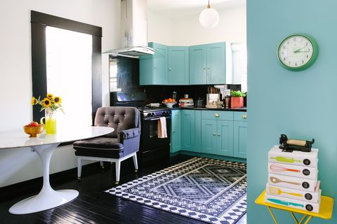 "<p>Paint is a no-brainer for quickly changing the look of any room, but in a utilitarian space like a kitchen, you can go bold with color or try variety of finishes — from high gloss to satin to matte. </p><p><br> </p><p>Play with the finish on your cabinets: ""I love to go glam with a shiny lacquer paired with polished brass hardware,"" says Caitlin Murray of <a href=""http://www.blacklacquerdesign.com/"" target=""_blank"">Black Lacquer Design</a>. ""An inverse of that aesthetic might be matte black fixtures with a flat finish on cabinets — equally beautiful, but more of an organic look.""</p>"